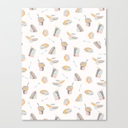 Packed Lunch Seamless Pattern, Hand Drawn Flat Color Vector Food Canvas Print