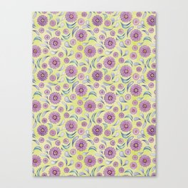 Floral on Lime Canvas Print