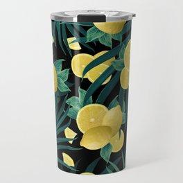 Summer Lemon Twist Jungle Night #1 #tropical #decor #art #society6 Travel Mug