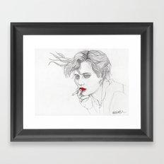 GIRL With The CIGARETTE Framed Art Print