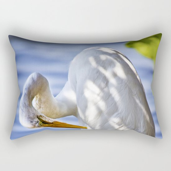 Great Egret Grooming Rectangular Pillow