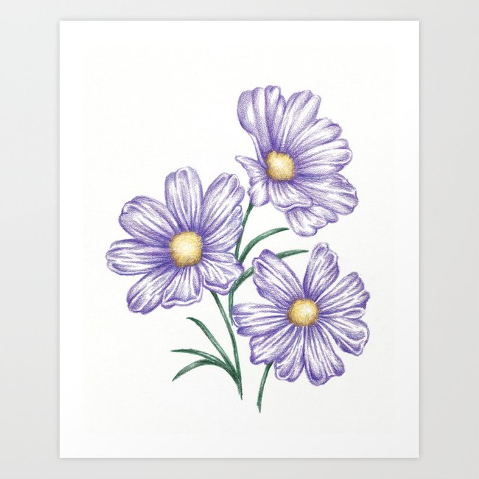 This is a graphic of Nifty Purple Flowers Drawing