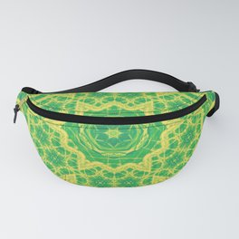 mystic mandala in green and yellow Fanny Pack