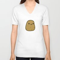 potato V-neck T-shirts featuring Cute potato by Holly
