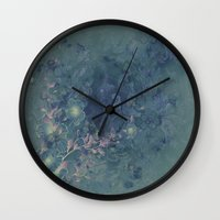 vintage floral Wall Clocks featuring Vintage floral by nicky2342