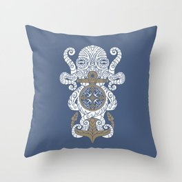 Octopus anchor and compass in tribal style Throw Pillow