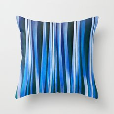 Harmony and Peace Blue Striped Abstract Pattern Throw Pillow