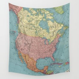 Vintage Map of North America (1903) Wall Tapestry