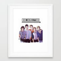one direction Framed Art Prints featuring One Direction by Nowhere Little Girl