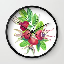 dog-rose watercolor botanical illustration Wall Clock