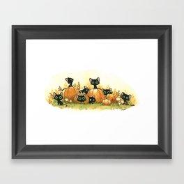 Black cats and pumpkins Framed Art Print