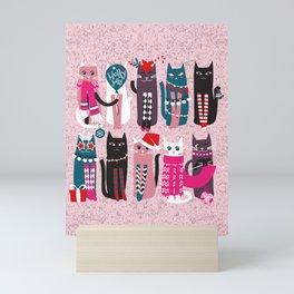 Feline Christmas vibes // pastel pink background green fuchsia pink white and black kittens Mini Art Print
