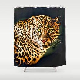 Leopard Digital Painting Shower Curtain