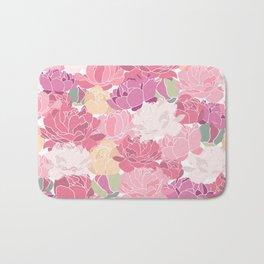 peonies flower floral roes pink flowering Bath Mat