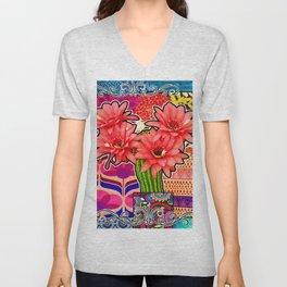 Pink Cactus Floral Vibes Unisex V-Neck