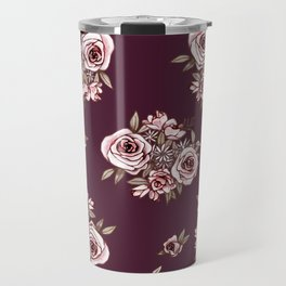 Burgundy Flower Pattern with Pink Flowers Travel Mug