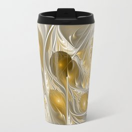 Golden, Abstract Fractal Art Travel Mug