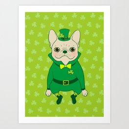 Cute French Bulldog is Feeling Lucky on St. Patrick's Day Art Print