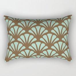 Brown and Mint Green Deco Fan Rectangular Pillow