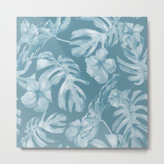 Tropical Escape Teal Blue Leaves + Hibiscus Metal Print