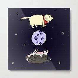 Dog and Pig Circle the Moon Metal Print