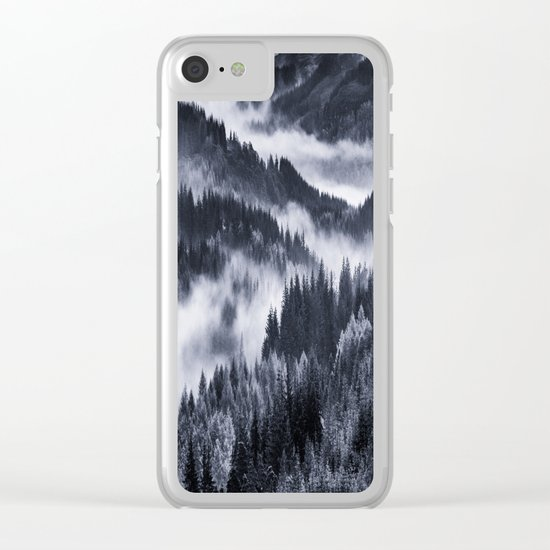 Misty Forest Mountains Clear iPhone Case