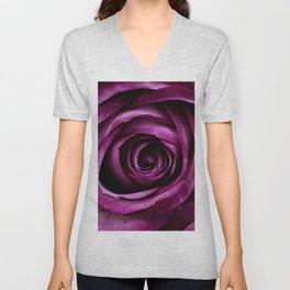 Purple Pink Rose Bloom Unisex V-Neck