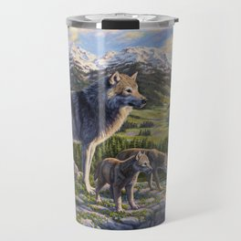 Mother Gray Wolf and Pups River Valley Travel Mug