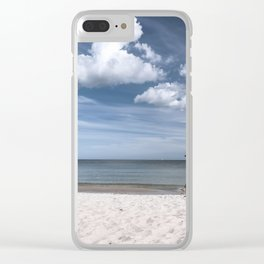Lonely man at the beach Clear iPhone Case