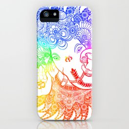 Ganesha Lineart rainbow iPhone Case