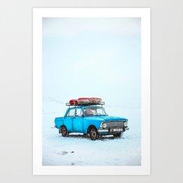 Blue Car Travels (Color) Art Print
