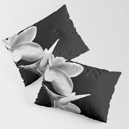 White Flowers Black Background Pillow Sham