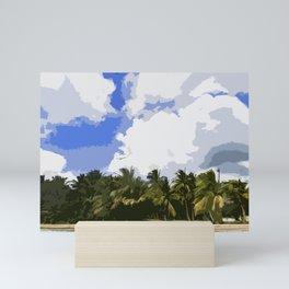 Beach Front Palm Tree Landscape Mini Art Print