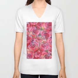 Red Watercolor Roses Unisex V-Neck
