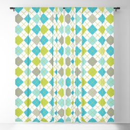 Retro 1980s Argyle Geometric Pattern in Modern Bright Colors Blue Green and Gray Blackout Curtain