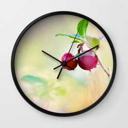Macro shot of cowberry in forest Wall Clock