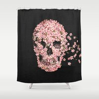cherry Shower Curtains featuring A Beautiful Death  by Terry Fan