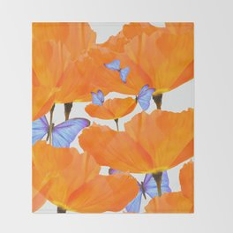 Poppies And Butterflies White Background #decor #society6 #buyart Throw Blanket