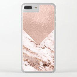 Pastel pink warm rose marble Clear iPhone Case