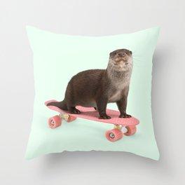 SKATE OTTER Throw Pillow