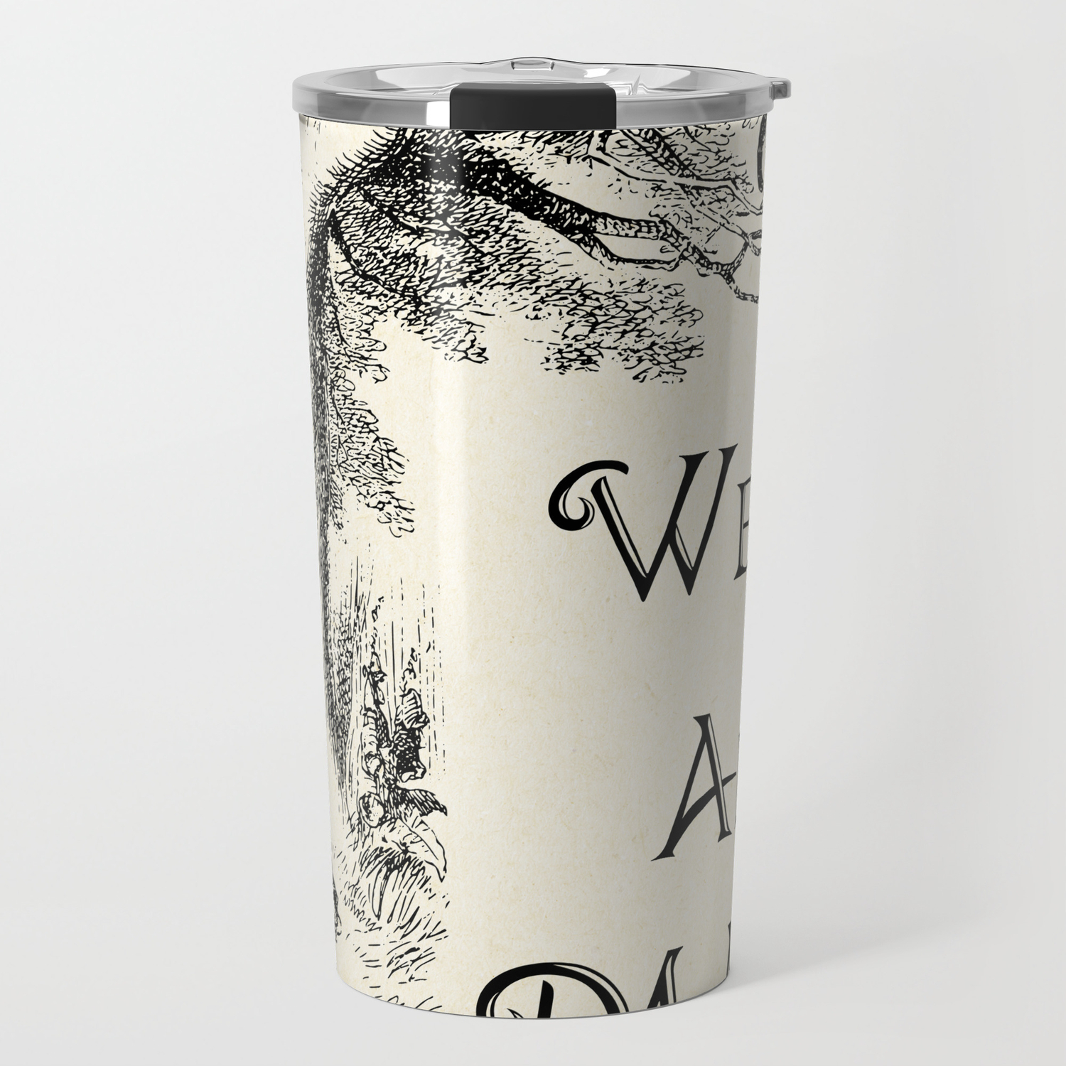 Alice In Wonderland Quote We Re All Mad Here Cheshire Cat Quote 0104 Travel Mug By Contraststudios Society6