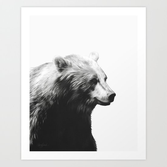 Bear // Calm (Black + White) Art Print