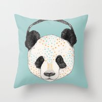 panda Throw Pillows featuring Polkadot Panda by Sandra Dieckmann