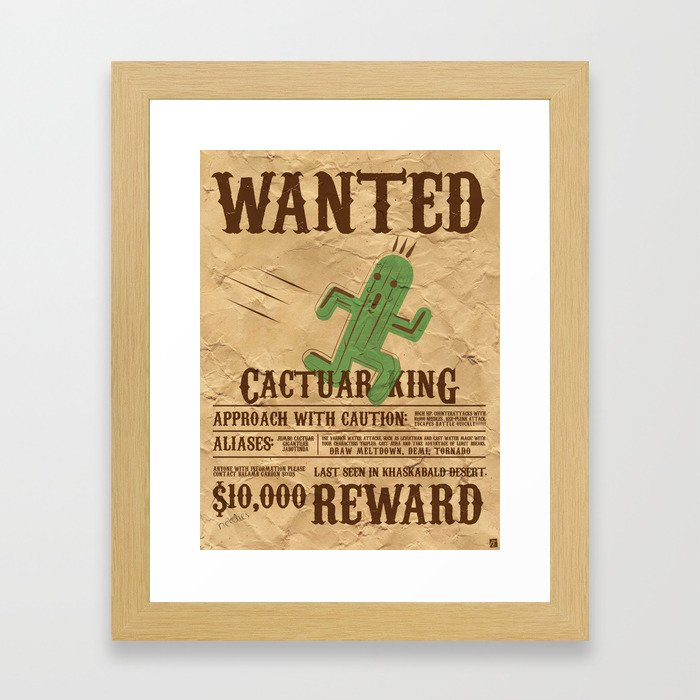 Wanted: The Cactuar King Framed Art Print