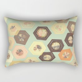 Retro Ruffled Hexagons Rectangular Pillow