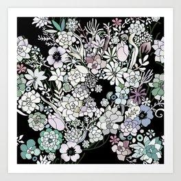 Colorful black detailed floral pattern Art Print