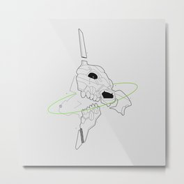 Minimal Evangelion Eva 01 Line Art Metal Print