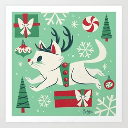Reindeer Cat Art Print