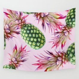 Pinapples on pink Wall Tapestry