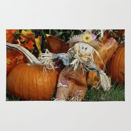 Cute Little Scarecrow and pumpkin Rug